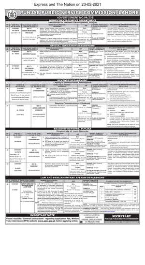 PPSC Jobs Advertisement 2021 Punjab Public Service Commission