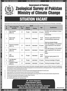 Zoological Survey of Pakistan Jobs 2021 Ministry of Climate Change